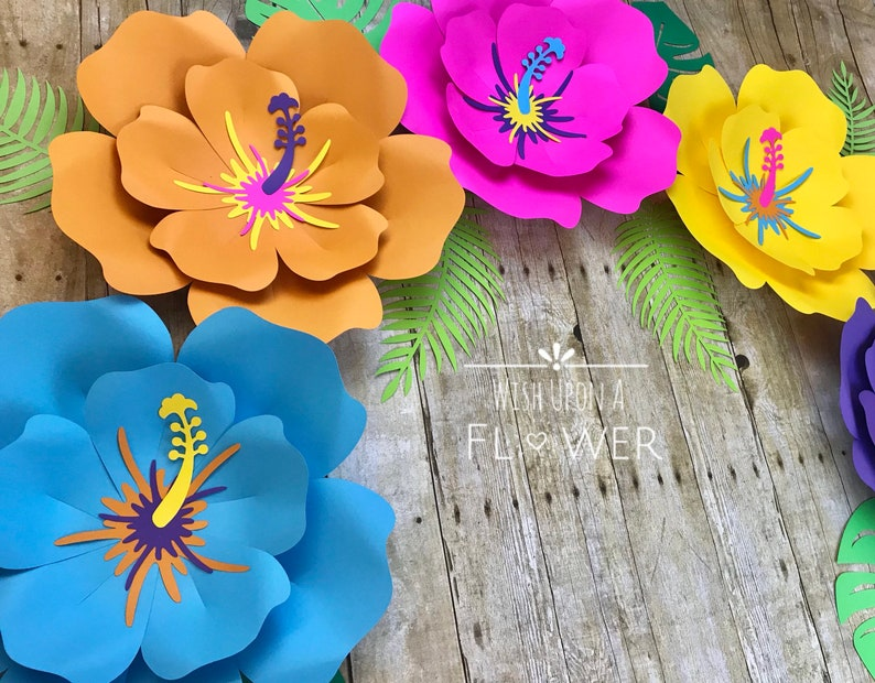 Moana Birthday Paper Flowers Tropical Party