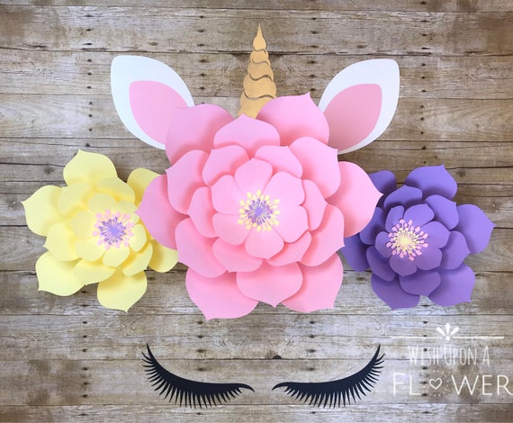 Paper Flower DIY Paper Flower Template Unicorn Flower Etsy