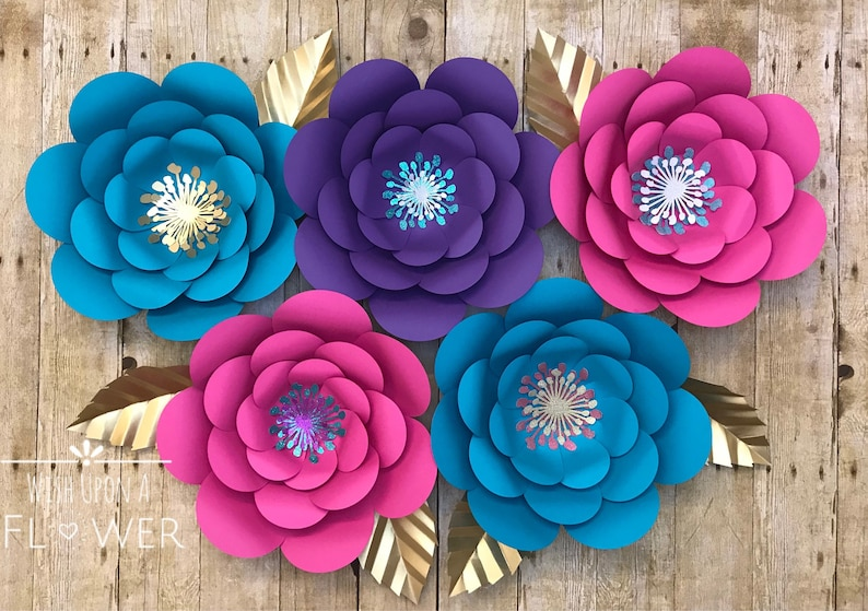 Paper Flowers Paper Flower Template Unicorn Svg Unicorn Flower Template Paper Flower Wall Decor Paper Flower Svg Paper Flower Diy