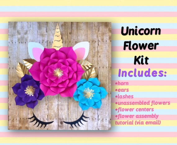 Unicorn Backdrop Unicorn Paper Flower Diy Kit Unicorn Wall Etsy