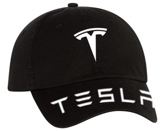 3b7b5bf6 Full Tesla Logo Hat, Tesla Motors Hat, Tesla Adjustable Twill Vinyl Cap Hat  *** Shipped In Box***