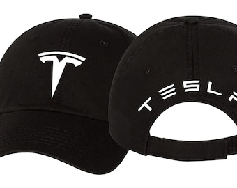 494ad399 Tesla Logo Hat, Curved Tesla Motors Hat, Tesla Adjustable Twill Vinyl Cap  Hat *** Shipped In Box***