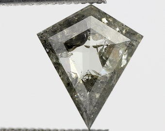 1.11 CT Geometric Pentagon Shape Salt and Pepper Fancy Cut Loose Rustic Diamond Long Faceted Stunning Green Color made for Vintage Ring
