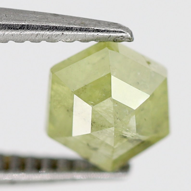 0.66 CT Unique Light Green Hexagon Shape Polished Back Faceted Loose Salt and Pepper Diamond ideal for making Platinum Diamond Ring