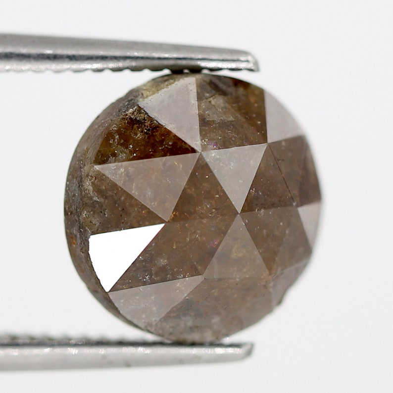 3.80 CT Brownish Red Color Triangular Faceted Domed Polished Top Round Shape Natural Loose Rustic Diamond made for Handmade Jewelry
