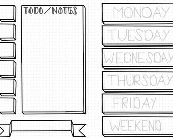 Printable Weekly Bullet journal layout