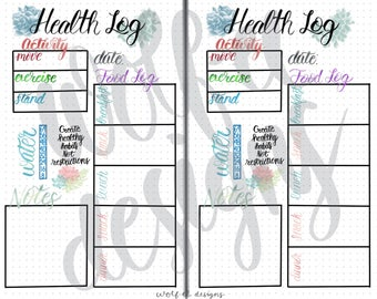 Two Page Printable Health Log