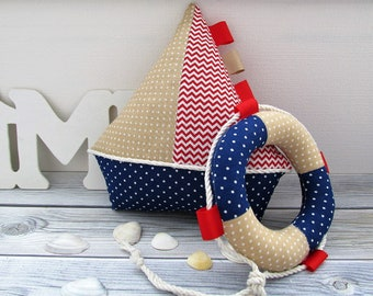 Set of marine soft toys, marine decor for children's room,  sea toy, ship made of cloth, small boat, soft toy for children.