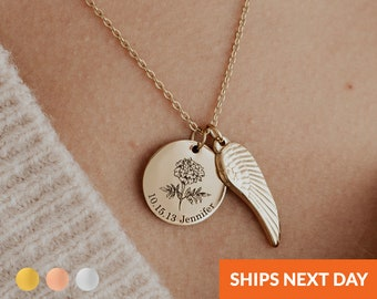 Personalized Memorial Necklace Birth Flower Necklace with Wing Memorial Jewelry Bereavement Gift Wing Memorial Loss of a Loved One Gift