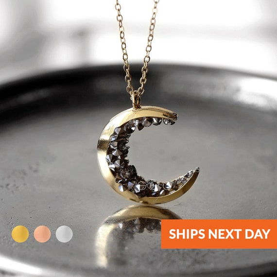 Personalized Moon Necklace Gold Moon Jewelry Name Necklace Celestial Jewelry Gift For Her Crescent Moon Necklace Women Jewelry