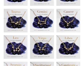 Gold Filled Zodiac Constellation Necklace Aquarius Celestial Jewelry Best Friend Girlfriend Christmas Gift For Women Sagittarius
