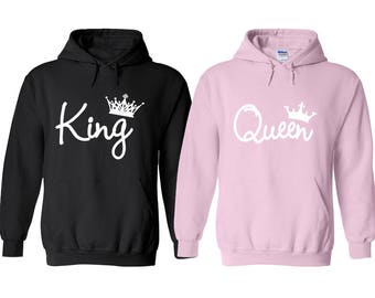 King and Queen Couple Hoodie, King Queen Hoodie, Couple Hoodie, Matching Couple Outfit, Couple Sweater