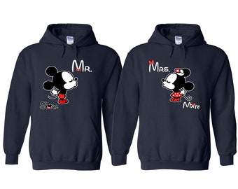 Kissing Mickey and Minnie Matching Couple Hoodie
