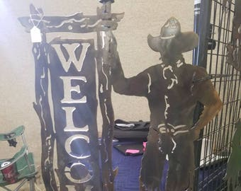 Cowboy Welcome Yard Ornament