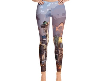 Seattle Skyline Leggings / Space Needle Leggings / Festival Clothing / Womens leggings / Wearable Art / Hoop Clothing / Eco Friendly / Yoga
