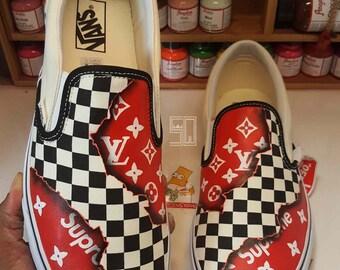 dbe9174476 Burning Checkered Supreme x LV Louis Vuitton Fire Slip on Vans Slip (any  size)