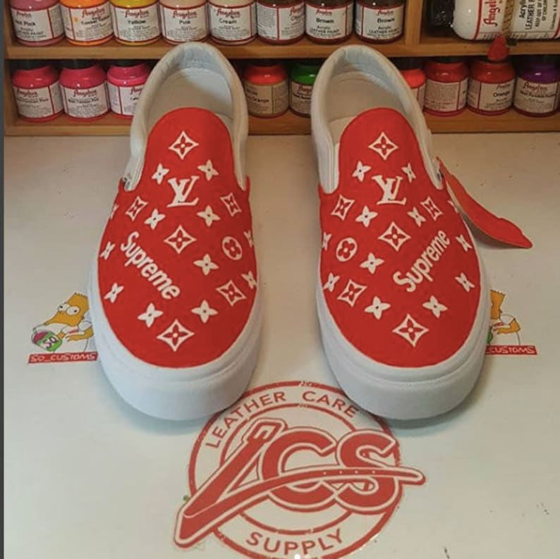 304bdd012a0 Custom Supreme x LV Louis Vuitton inspired VANS slip on any