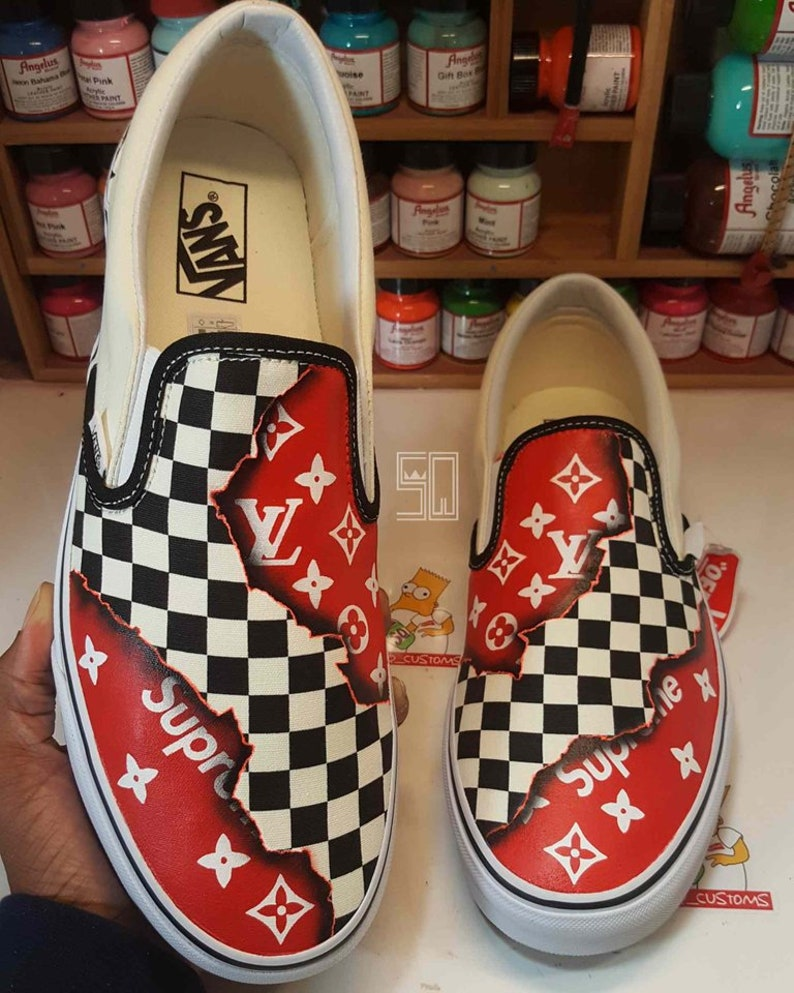 54f566dab00c5f Burning Checkered Supreme x LV Louis Vuitton Fire Slip on Vans