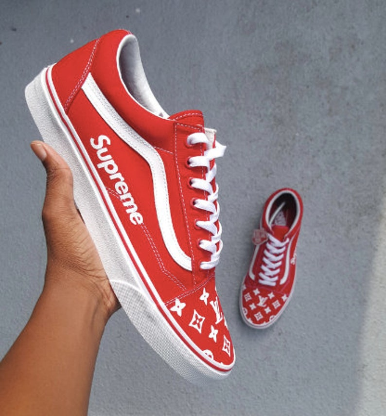b5c8191c21fc Supreme x LV insipired Vans Old Skool Custom sneakers any | Etsy