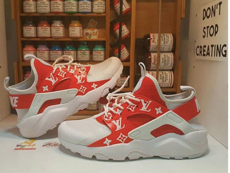 the latest 85c6b a7273 Custom Supreme x LV Louis Vuitton inspired Nike Huarache any   Etsy
