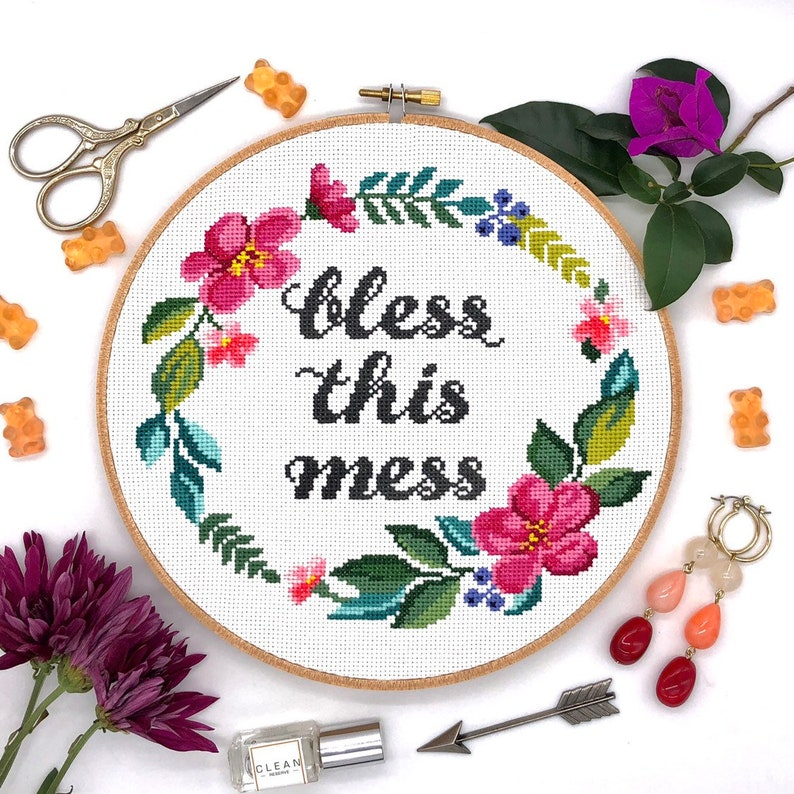 Cross stitch pattern Bless this mess / Quote cross stitch / image 0