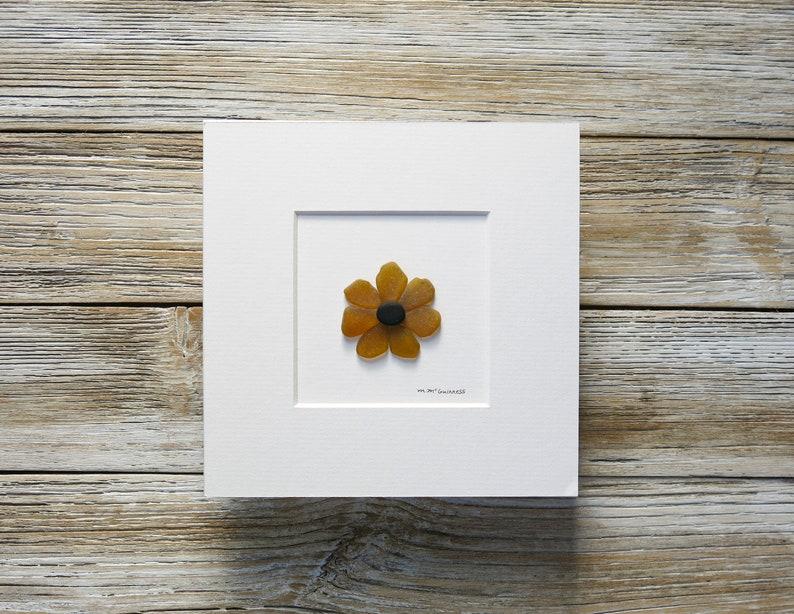 Pebble Art,Sea Glass Art,Pebble Art Flower,Black Eyed Susan,Flower Decor,Botanical Decor,Spring Decor,Framed Art,Mixed Media Art,Flower Art!