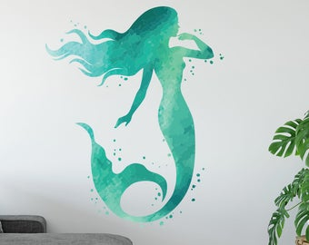 Mermaid Wall Decal   Ocean Mermaid Wall Art Watercolors   Bedroom Wall Decor    Mermaid Vinyl Wall Sticker