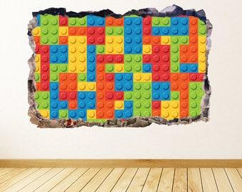 Lego Blocks Wall Decal 3D Smashed Wall Art Lego Wall Sticker Kids Bedroom Decor