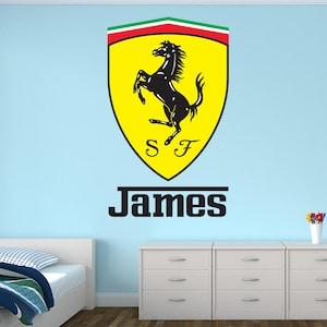 Racing Flags Flame Wall Art Kids Boys Bedroom Vinyl Wall Decor Personalized Racing Name Wall Decal