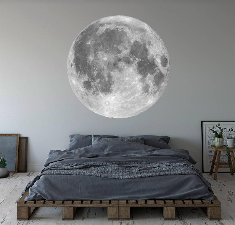 Moon Wall Decal Vinyl Wall Art Decor Removable Mural