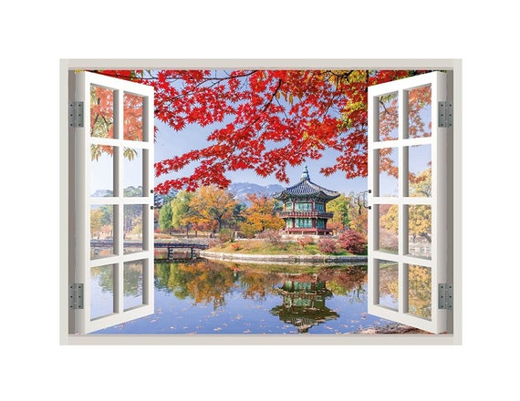 Seoul Korea View Window 3D Wall Decal Art Mural Home Decor Canvas Vinyl W99