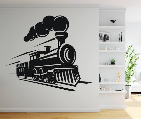 train wall decal kids bedroom vintage train machine vinyl wall | etsy