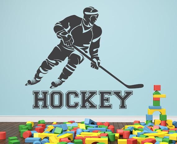 Hockey Spieler Wandtattoo Sport Kinder Schlafzimmer Gym Etsy