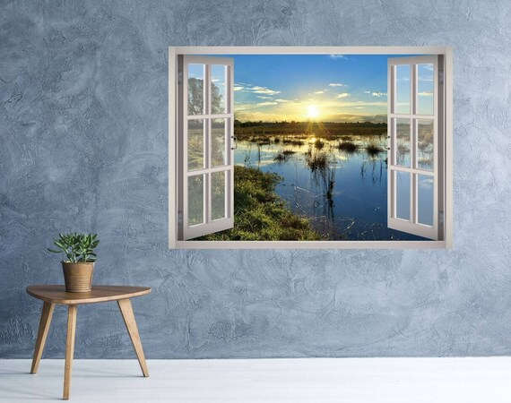 3d Window Landscape Of Forest And River Wall Decal Vinyl 3d Wall Art Vinyl Peel And Stick Removab Landscape Walls Vinyl Wall Decals Landscape