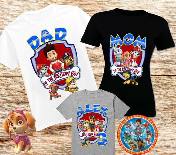 Paw Patrol Birthday Shirt Family Custom Tops Party Shirts Personalized