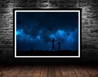 rick and morty, rick morty, rick and morty poster, rick and morty art, nerd decor, geeky gift, geek wall art, rick and morty card, canvas, 3
