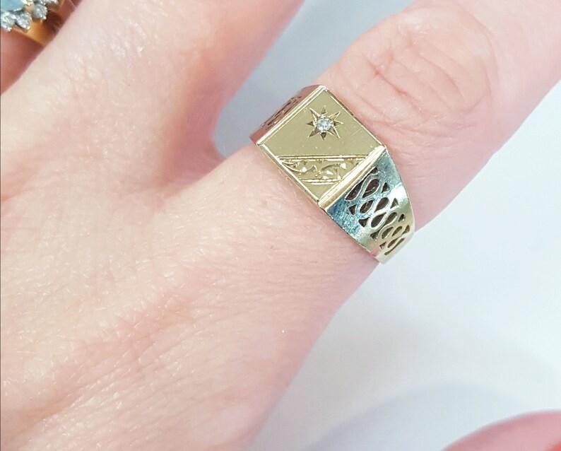 Lattice Men/'s Jewellery  Jewelery Free Resizing Vintage 9ct Gold /& Diamond Men/'s Signet Ring Size R Retro. Wedding Band EU 59