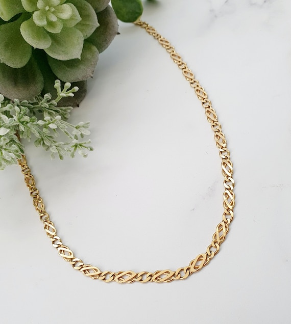 "Vintage 9ct Gold Fancy Necklace Chain.18"" length."