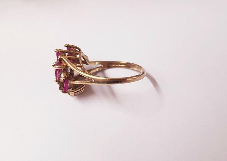 Free Resizing Size O 9ct Gold Ruby and Diamond Ring Vintage Jewellery EU 56 July Birthstone