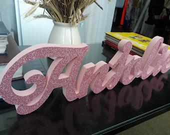 sweet 16 candelabra foam letters age block,3D name,Large free standing foam White color custom name 3D  white glitter,styrofoam name