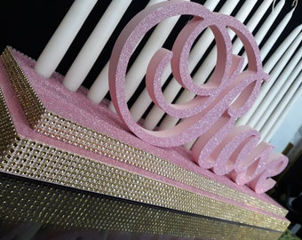 Sweet 16 Candelabra RoseQuinceanera Mitzvah Candle Lighting CenterpieceCustom 3D Name Styrofoamfoam Letters Rose Baby Shower 15