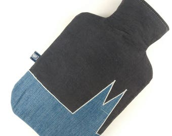 upcycling hot water bottle cover made of jeans and cord
