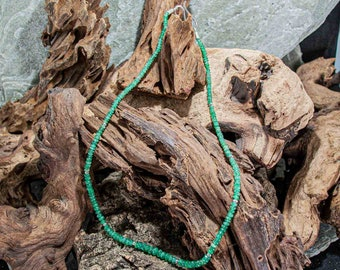 Emerald necklace with sterling silver