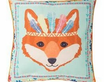 Fox animal adventure cushion. Turquoise with tribal feathers and cushion/ pillow inner