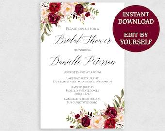 4x6 bridal shower invitation template editable pdf printable red rose invites 4 x 6 instant download