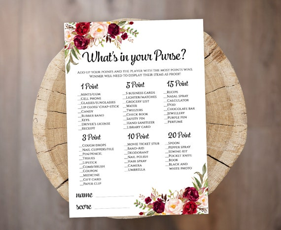 image about What's in Your Purse Printable identify Whats within just your Purse Bridal Shower video game template Printable floral Whats within just your Purse match Fast down load PDF JPEG