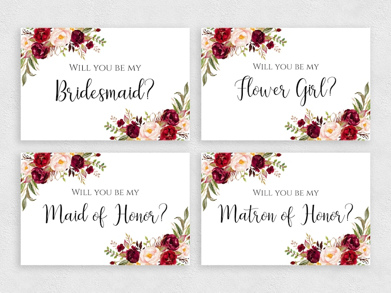 graphic regarding Printable Bridesmaid Cards identified as Will oneself be my Bridesmaid card fixed Printable 4x6 inches template with bouquets Bridesmaid playing cards pack Quick down load PDF JPEG print