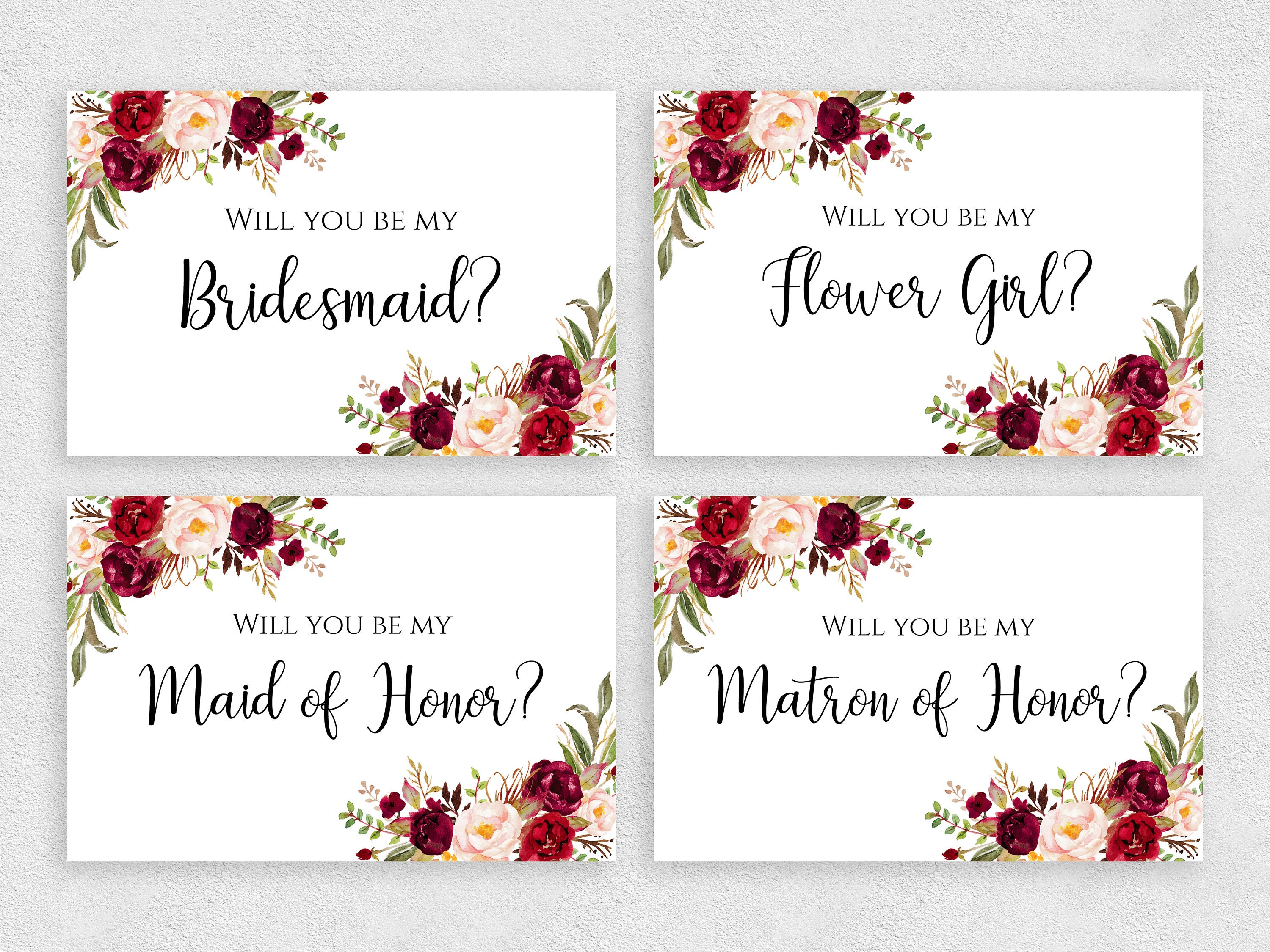 Will you be my Bridesmaid card set Printable 23x23 inches template with  flowers Bridesmaid cards pack Instant download PDF JPEG print Intended For Will You Be My Bridesmaid Card Template