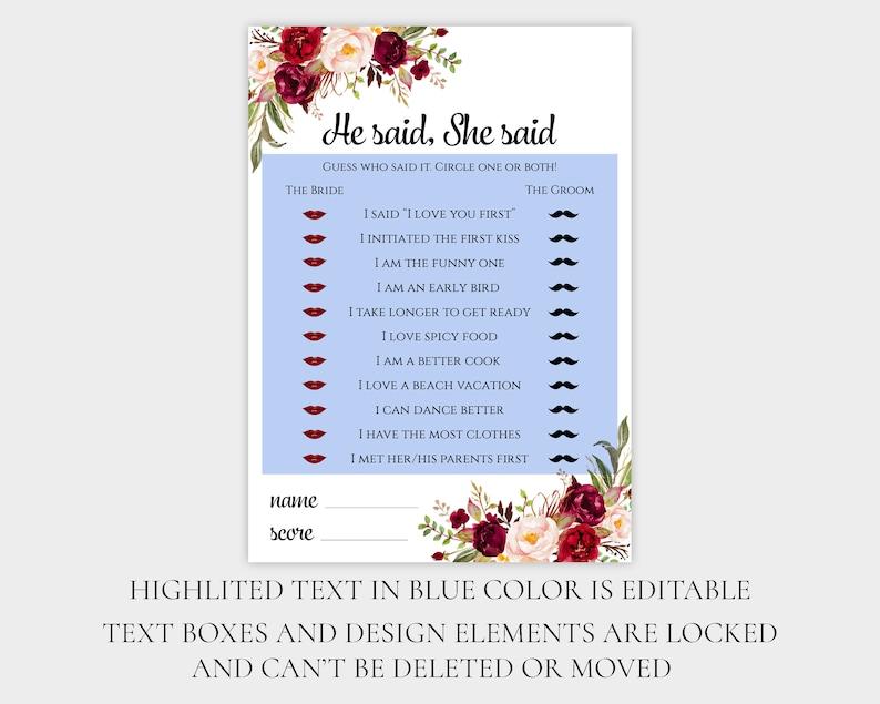 He said She said EDITABLE template Burgundy Bridal Shower game Custom PDF download