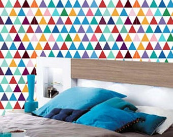 geometric triangles wallpaper | Nursery wallpaper | Wall art peel and stick | wall mural | Self Adhesive wallpaper | Peel&Stick | # 103